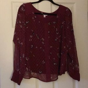 Burgundy flowy floral top